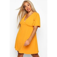 Womens Plus Angel Sleeve Ruched Detail Swing Dress - yellow - 22, Yellow