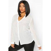 Womens Plus Striped Sheer Button Through Blouse - white - 24, White
