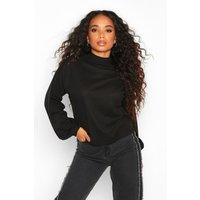 Womens Petite Knitted Rib Extreme Volume Sleeve Top - black - 14, Black