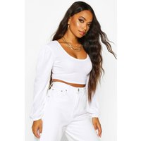 Womens Petite Square Neck Ribbed Balloon Sleeve Top - white - 8, White