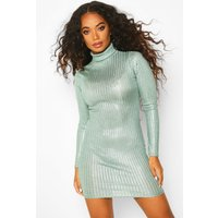 Womens Petite Rib Shimmer Knitted roll/polo neck Dress - green - 10, Green