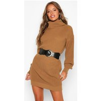 Womens Petite Belted Roll Neck Rib Jumper Dress - Beige - S, Beige