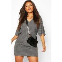 Womens Plus Split Sleeve Ribbed T-Shirt Dress - grey - 18, Grey