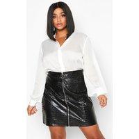 Womens Plus Satin Stripe Shirt - white - 20, White