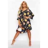 Womens Plus Floral Polka Dot Asymmetric Wrap Midi Dress - navy - 20, Navy