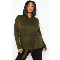 Womens Plus Tie Front Sweatshirt - green - 22, Green