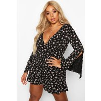 Womens Plus Dark Ditsy Floral Flare Sleeve Wrap Playsuit - black - 24, Black