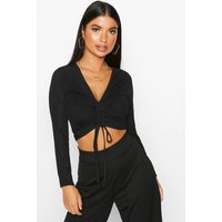 Womens Petite Long Sleeve Ribbed Ruched Detail Top - Black - 14, Black