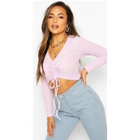 Womens Petite Long Sleeve Ribbed Ruched Detail Top - Purple - 16, Purple
