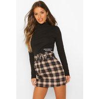 Womens Petite Self Belt Mini Check Skirt - black - 4, Black