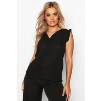 Womens Plus Ruffle Frill Sleeve Sleeveless Top - black - 24, Black