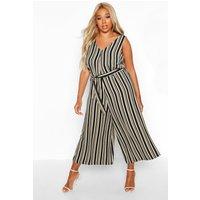 Womens Plus Stripe Self Belt Culotte Jumpsuit - beige - 18, Beige