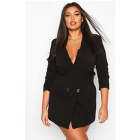Womens Plus Double Breasted Gold Button Blazer Dress - black - 22, Black