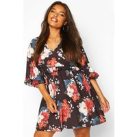 Womens Plus Ruffle Plunge Woven Floral Smock Dress - navy - 16, Navy
