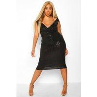 Womens Plus Sequin Bardot Midi Dress - black - 28, Black