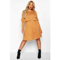 Womens Plus Ditsy Floral Ruffle Smock Dress - yellow - 24, Yellow