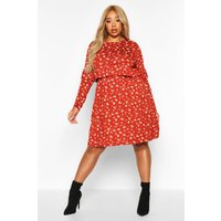 Womens Plus Ditsy Floral Ruffle Smock Dress - orange - 22, Orange