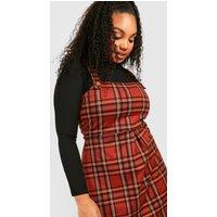 Womens Plus Check Button Detail Pinafore Dress - Orange - 18, Orange