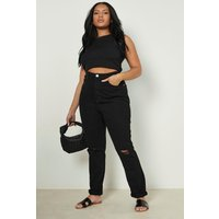Womens Plus Ripped Knee Mom Jeans - black - 22, Black