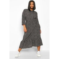 Womens Plus Polka Dot Ruffle Hem Midi Dress - black - 18, Black