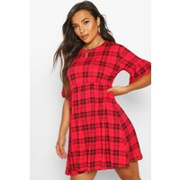 Womens Petite Check Smock Dress - red - 8, Red