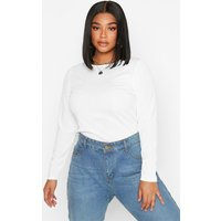 Womens Plus Rib Crew Neck Long Sleeve Top - white - 18, White