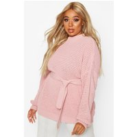 Womens Plus Chunky Knitted Tie Belt Jumper - Pink - 16, Pink