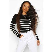 Womens Petite Stripe Oversized Jumper - black - M, Black