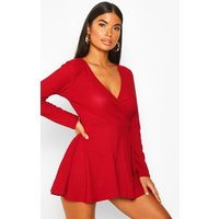 Womens Petite Long Sleeve Wrap Playsuit - red - 10, Red