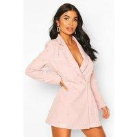 Womens Petite Pearl Detail Blazer Dress - pink - 6, Pink