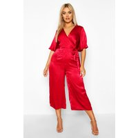 Womens Plus Satin Wrap Angel Sleeve Cullotte Jumpsuit - red - 22, Red