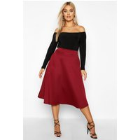 Womens Plus Basic Plain Full Circle Midi Skater Skirt - red - 24, Red
