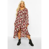 Womens Plus Floral Ruffle Wrap Midi Dress - red - 16, Red