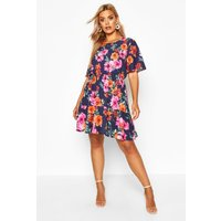 Womens Plus Tiered Woven Floral Smock Dress - navy - 26, Navy