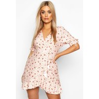 Womens Ditsy Floral Wrap Ruffle Tea Dress - Pink - 26, Pink
