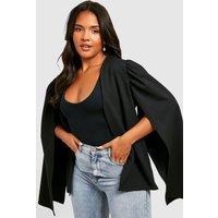 Womens Plus Cape Sleeve Blazer - black - 16, Black