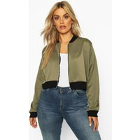 Womens Plus Cropped Bomber Jacket - green - 18, Green