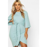 Womens Plus Kimono Sleeve Tie Waist Wrap Dress - duck egg - 26, Duck Egg