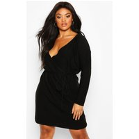 Plus Wrap Belted Knitted Dress - black - 18, Black