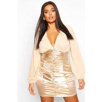 Womens Plus Chiffon Contrast Satin Ruched Mini Dress - metallics - 16, Metallics