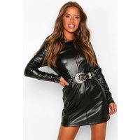 Womens Petite Leather Look Shift Dress - black - 6, Black