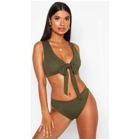 Womens Petite Rib High Leg Bikini Brief - green - 16, Green