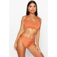 Womens Petite Tie Shoulder High Waist Bikini - orange - 4, Orange