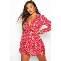 Womens Petite Long Sleeve Woven Floral Print Wrap Dress - red - 12, Red