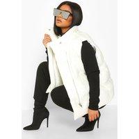 Womens Plus Sleeveless Puffer Gilet - White - 24, White
