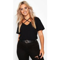 Womens Plus Cross Front Strap Ribbed T-Shirt - Black - 20, Black