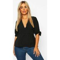 Womens Plus Puff Tie Sleeve Peplum Top - black - 22, Black