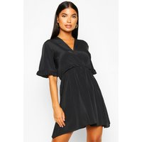 Womens Petite Ruffle Sleeve V-Neck Skater Dress - black - 4, Black