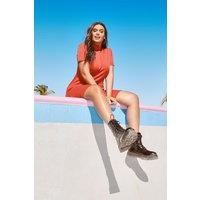 Womens Plus Ribbed Hem Neck Skater Dress - orange - 20, Orange