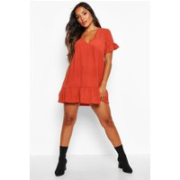 Womens Petite Ruffle Detail V-Neck Smock Dress - orange - 14, Orange